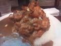 [twitter] マンモスカレーにてマンモス1kg唐揚げカレーを食す。破裂しそう。も