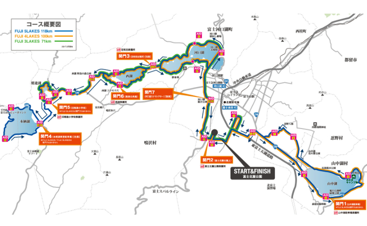 チャレンジ富士五湖ウルトラマラソン大会ルート