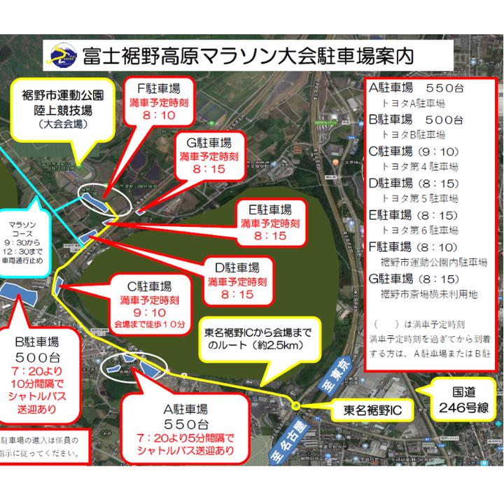 富士裾野高原マラソン駐車場案内図