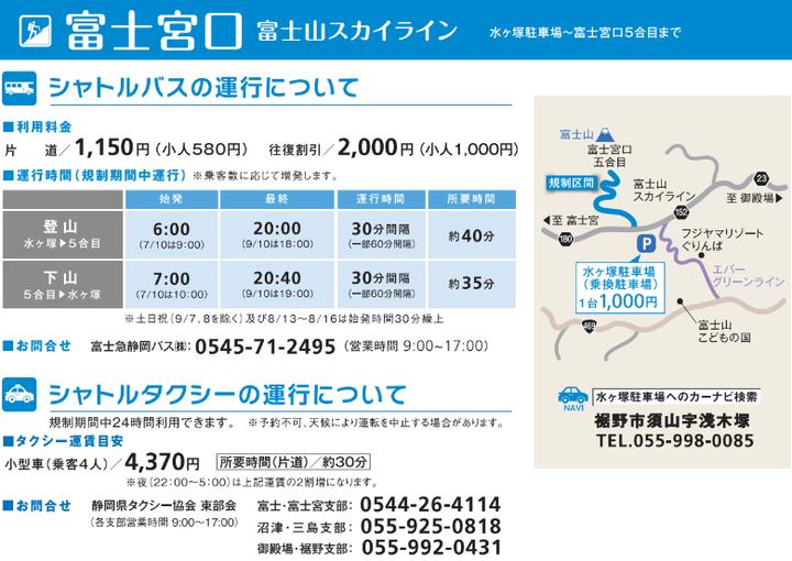 富士山スカイライン マイカー規制2019