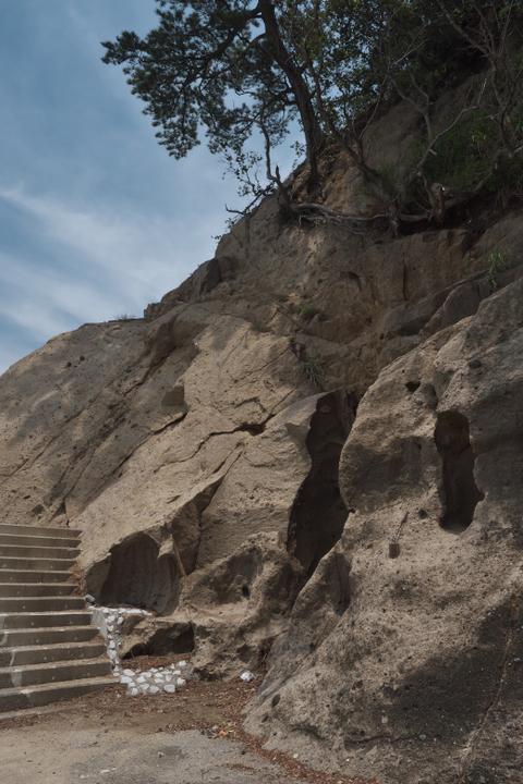 石部の防波堤の付け根
