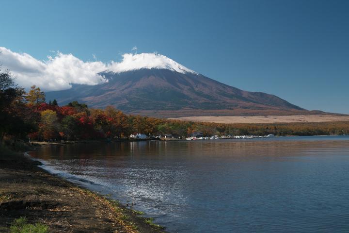 山中湖夕焼けの渚附近の紅葉