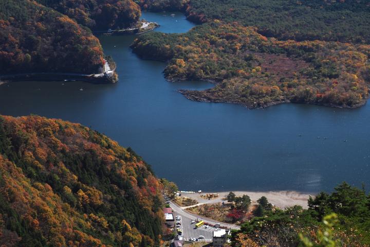 精進湖 湖畔の紅葉