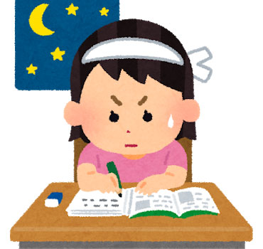 勉強する女の子のイラスト