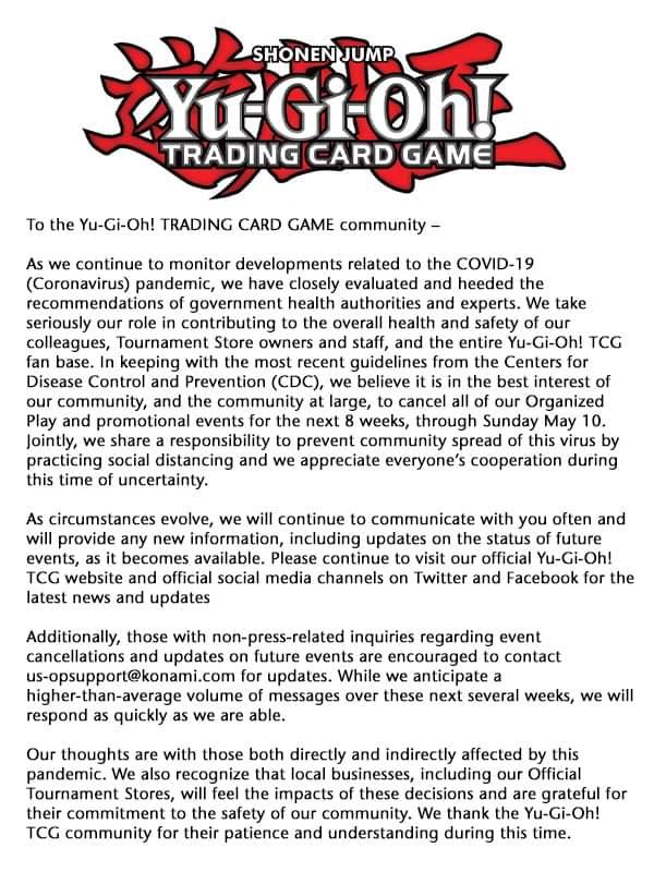 遊戯王OCGの大会がコロナウイルス等の影響で世界中で中止問題へ!?