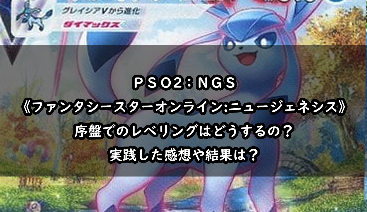 【PSO2NGS レベル上げ】