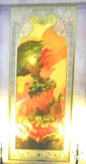 命の大樹が燃えている絵