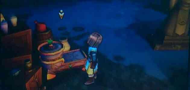 不思議な鍛冶台に素材をセットする勇者