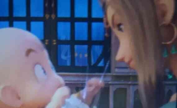 赤ちゃん勇者を抱くエレノア王妃と窓の外のニズゼルファ