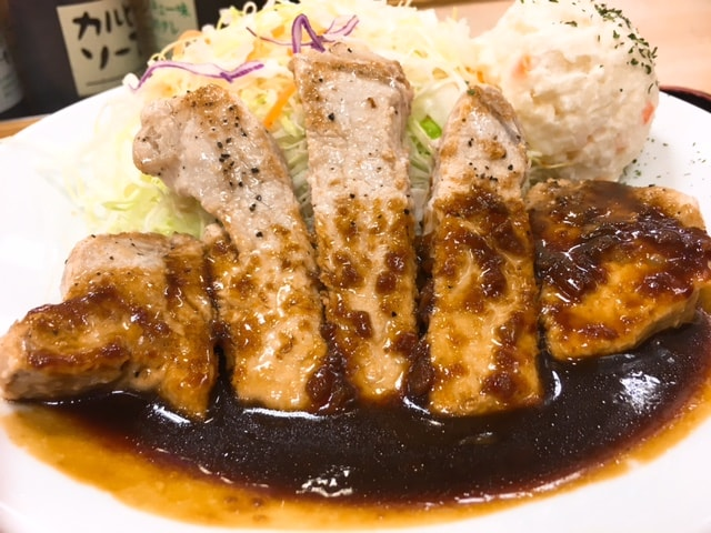 松屋豚テキ定食(トンテキ)ポテトサラダ