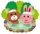 クマとウサギが温泉に入っているイラスト