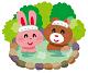 ウサギとクマが露天風呂に入っているイラスト