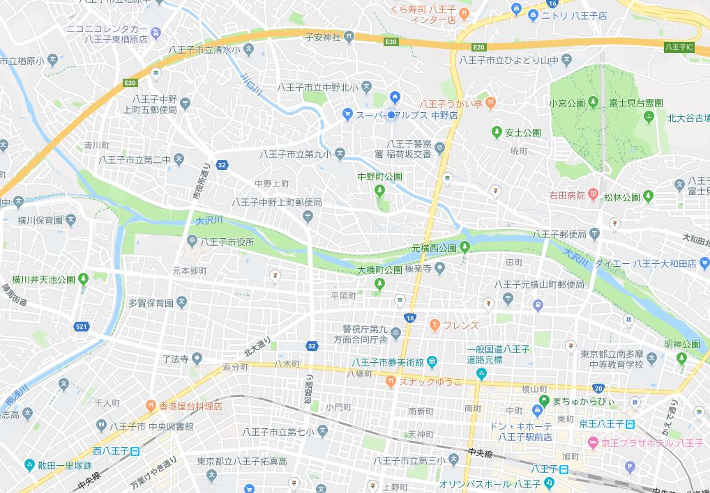 浅川が大沢川となっている地図