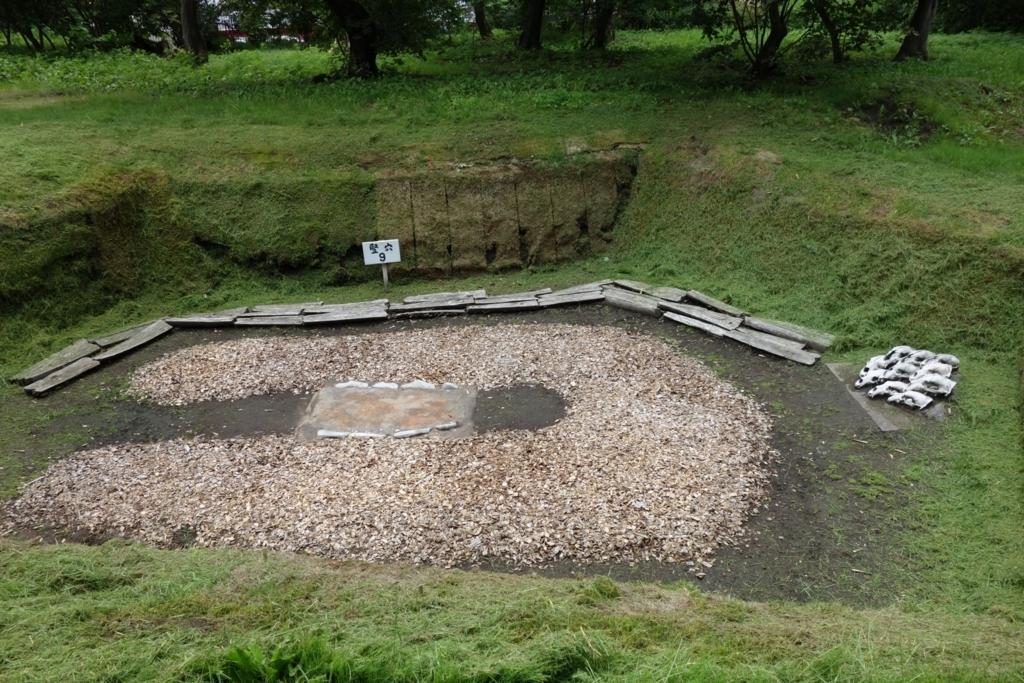 骨塚が再現された住居の遺構