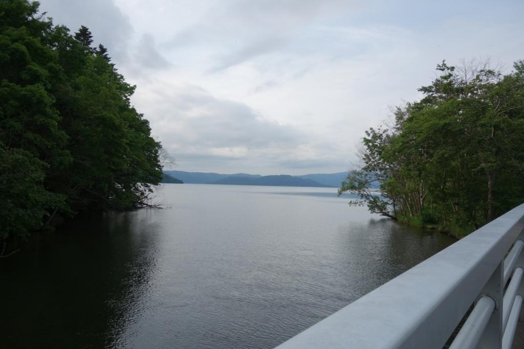 屈斜路湖から釧路川が枝分かれする地点