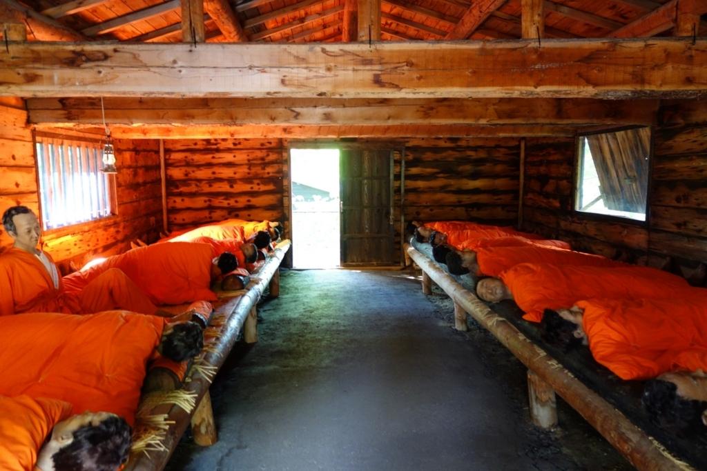 当時の休泊所の様子が再現されている