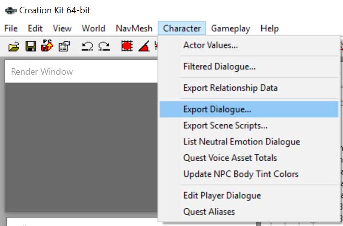 メニューバーからCharacter > Export Dialogueを選びます。