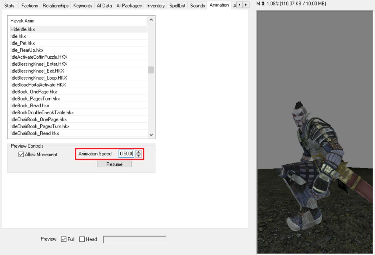 アニメーションの速度を調整したかったら、Animation Speedの数値を変えます。