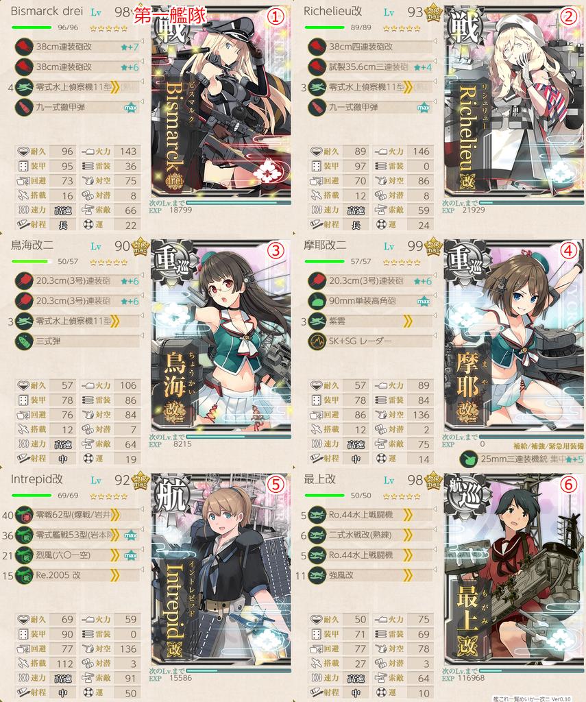 初秋イベE5-2甲 第一艦隊編成