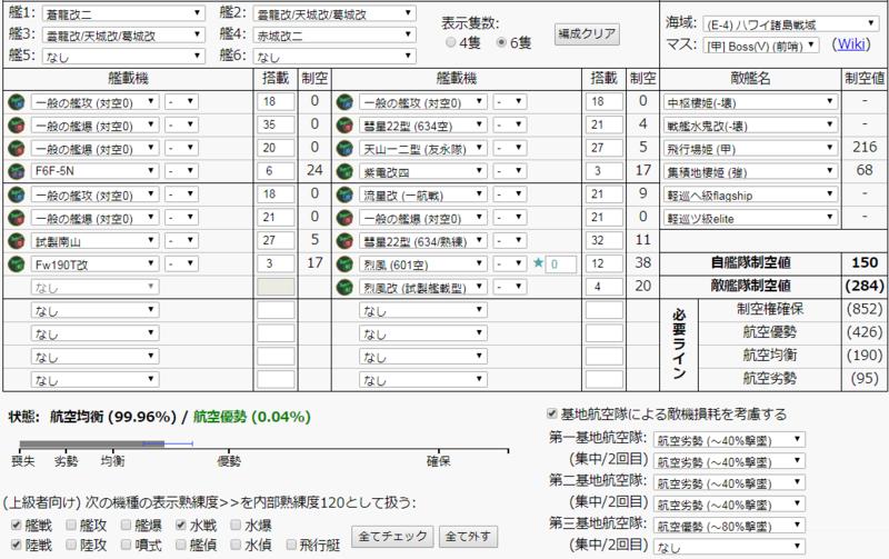 艦これ/19春イベE-4甲/決戦支援艦隊/航空支援/航空均衡/制空値計算