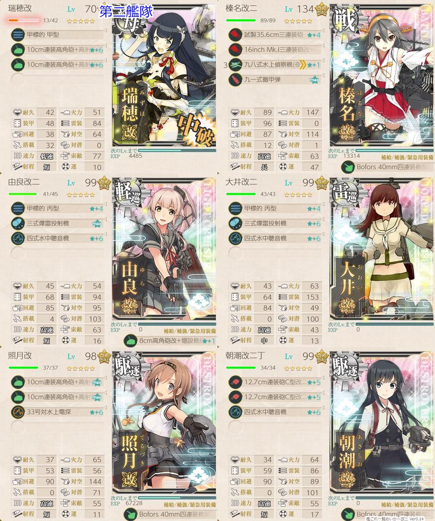 艦これ/19春イベE-4甲/L地点優勢/T地点S勝利編成/第二艦隊