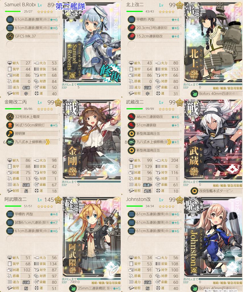 艦これ/19春イベE-5甲/太平洋深海棲姫/前哨戦編成/第二艦隊