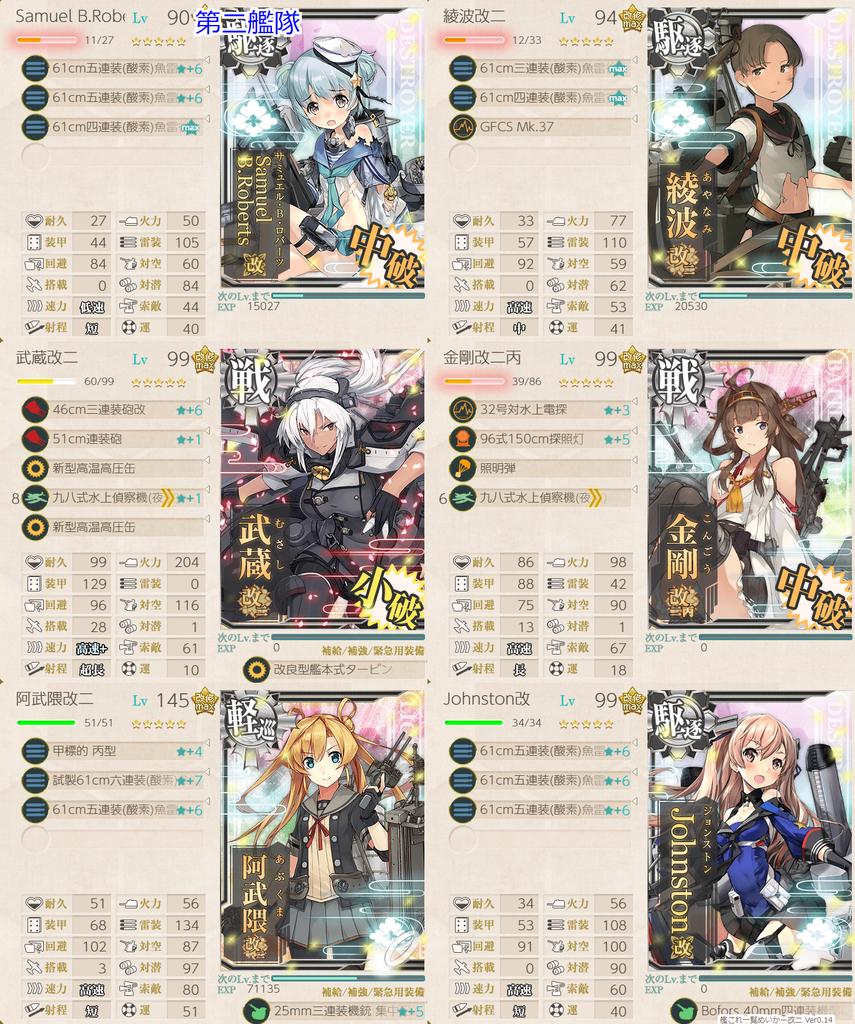 艦これ/19春イベE-5甲/太平洋深海棲姫-壊/撃破編成/第二艦隊