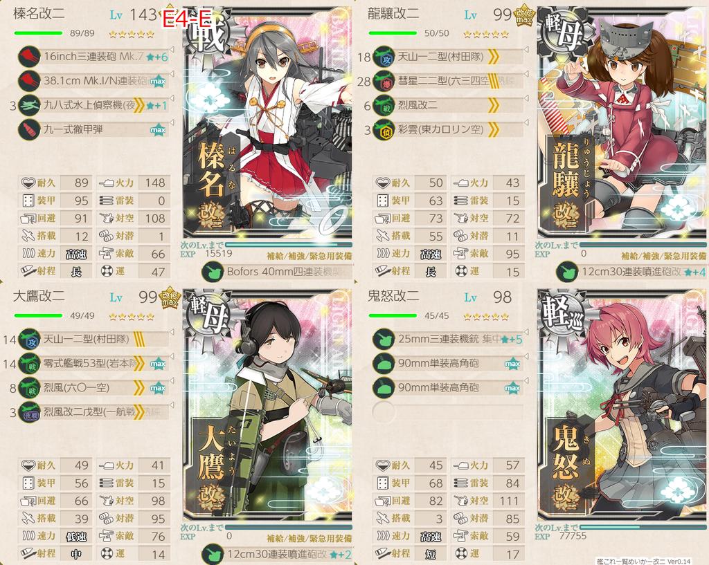 艦これ/19秋イベE-4甲/バタビア沖棲姫/装甲破砕/E地点S勝利/機動部隊第一艦隊