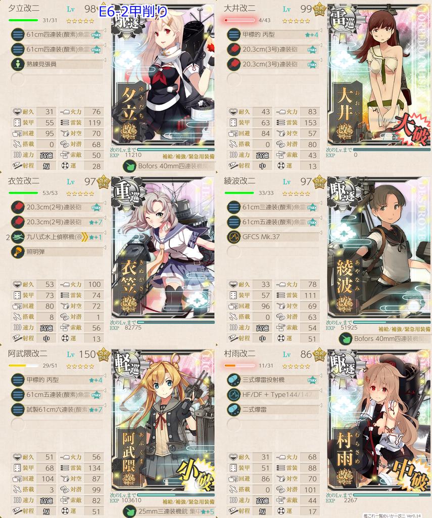 艦これ/19秋イベE6-2甲/削り/水上打撃部隊第二艦隊