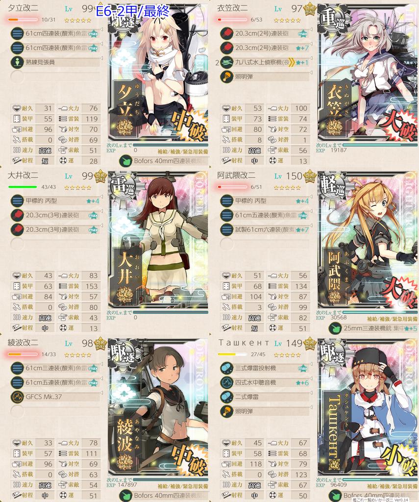 艦これ/19秋イベE6-2甲/ラスダン/水上打撃部隊第二艦隊/タシュケント照明弾