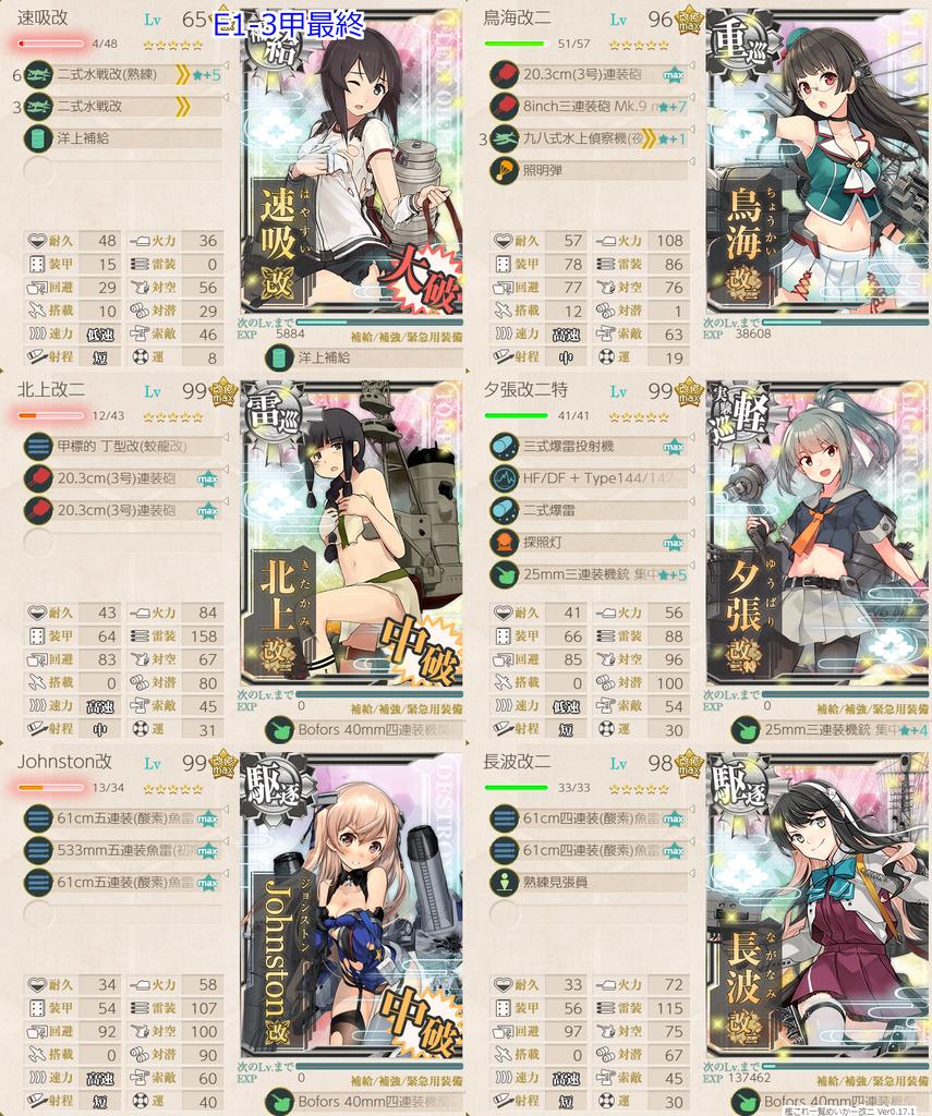 艦これ菱餅イベE1-3甲/最終戦/水上打撃部隊第二艦隊編成