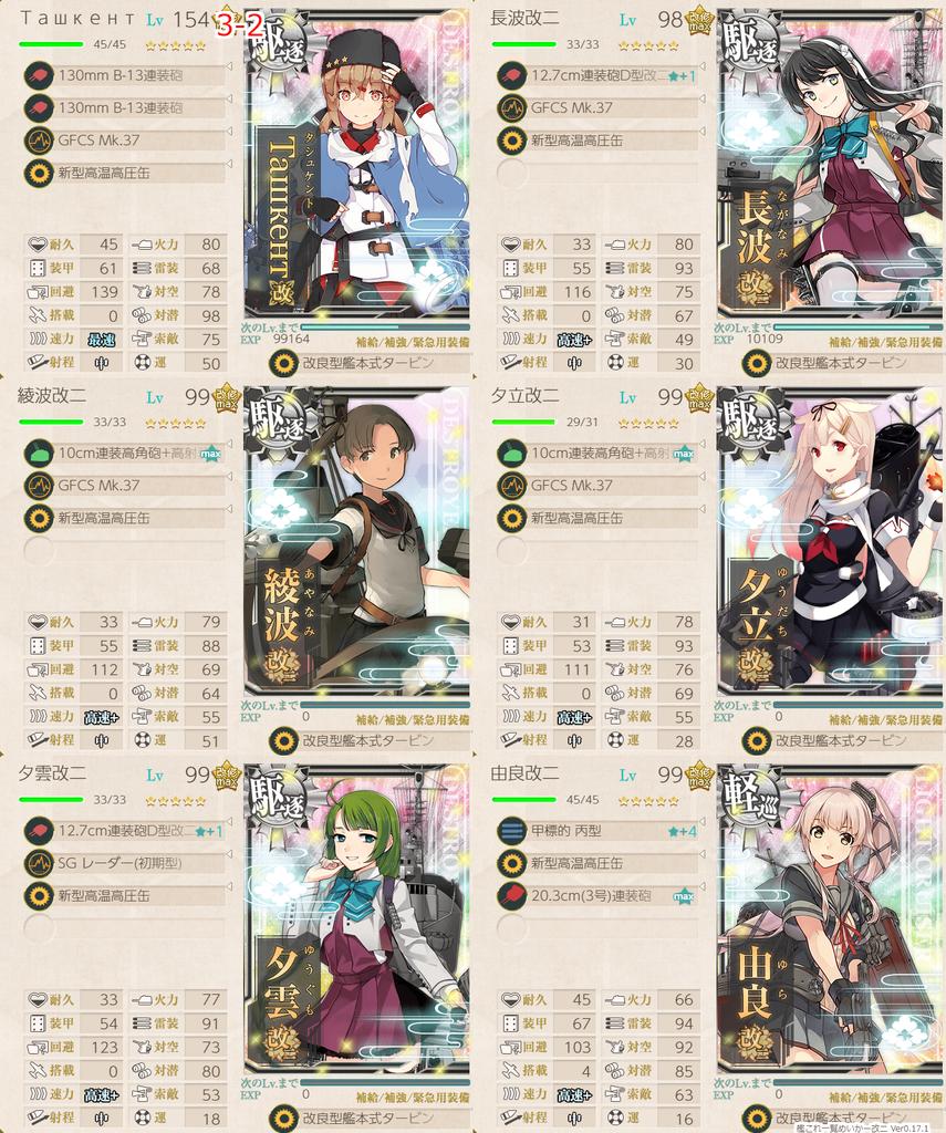 艦これ/3-2/戦果1.30周回/高速+