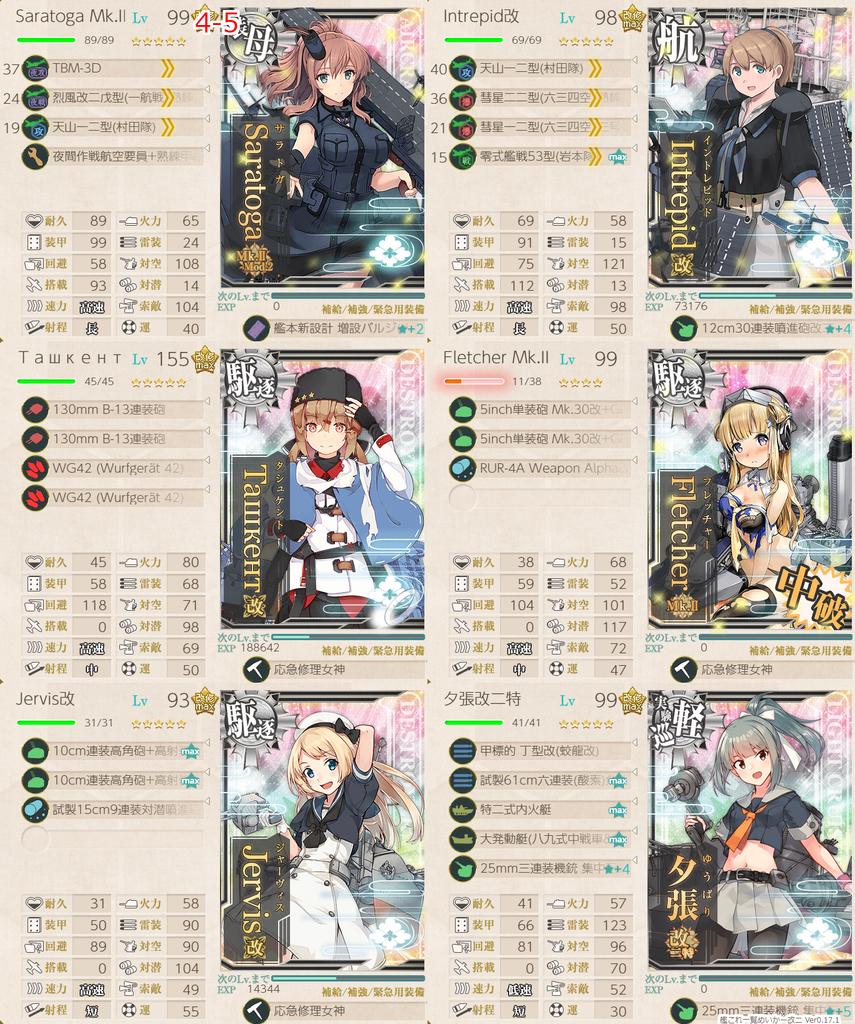 艦これ/4-5道中2戦ルート/フレッチャー拡張作戦/艦隊編成