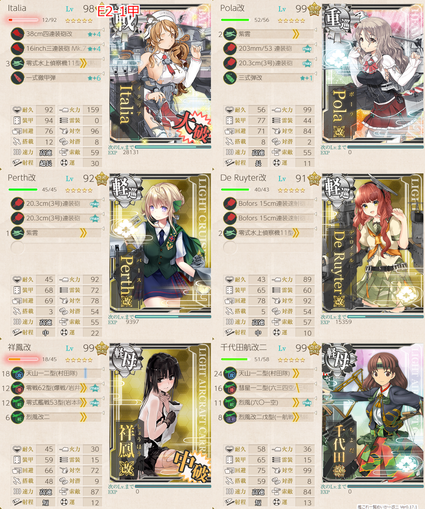 艦隊これくしょん/20梅雨夏イベ/E2-1甲/水上打撃部隊/第一艦隊