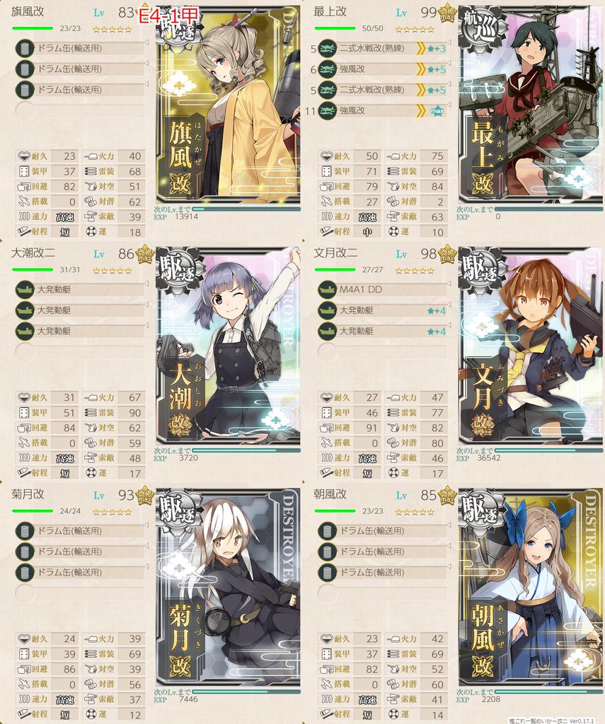 艦隊これくしょん/20梅雨夏イベ/E-4甲輸送1/輸送護衛部隊/第一艦隊編成