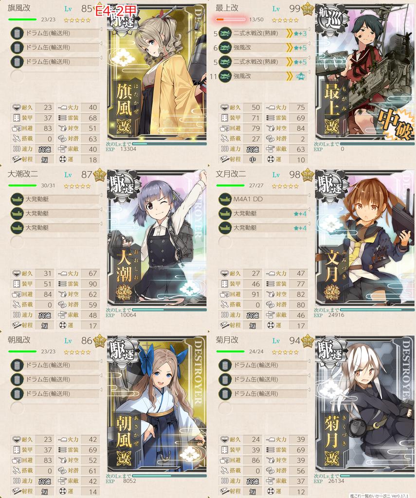 艦隊これくしょん/20梅雨夏イベ/E-4甲輸送2/輸送護衛部隊/第一艦隊編成