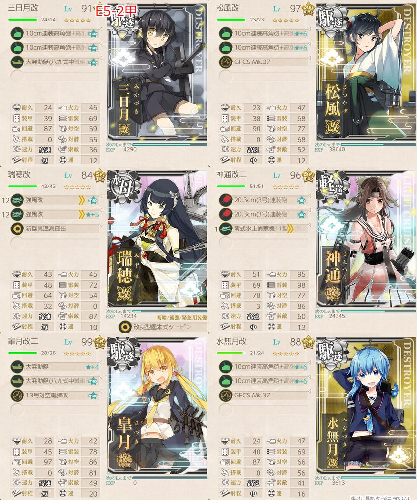 艦隊これくしょん/20梅雨夏イベ/E5-2甲/BマスS勝利編成