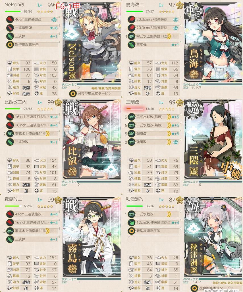 艦隊これくしょん/20梅雨夏イベ/E6-1甲/水上打撃部隊/第一艦隊編成