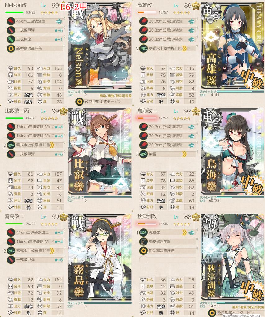 艦隊これくしょん/20梅雨夏イベ/E6-2甲/水上打撃部隊/第一艦隊/ボス撃破編成