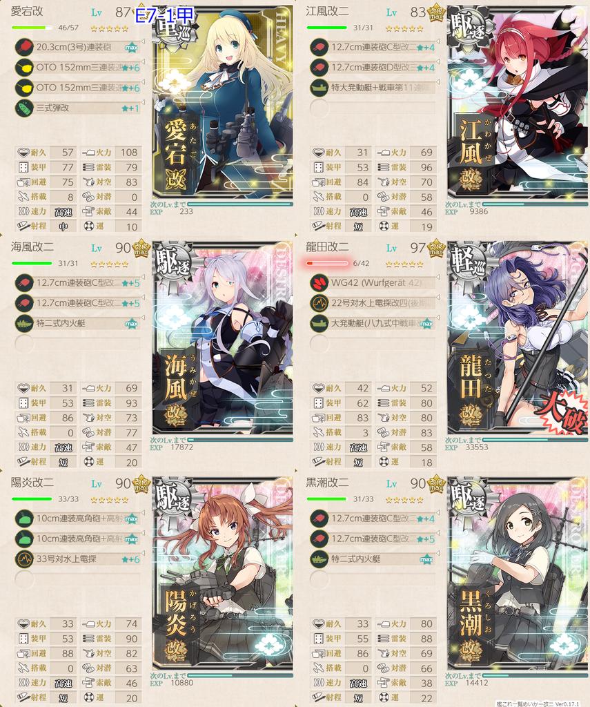 艦隊これくしょん/20梅雨夏イベ/E7-1甲/水上打撃部隊/第二艦隊編成