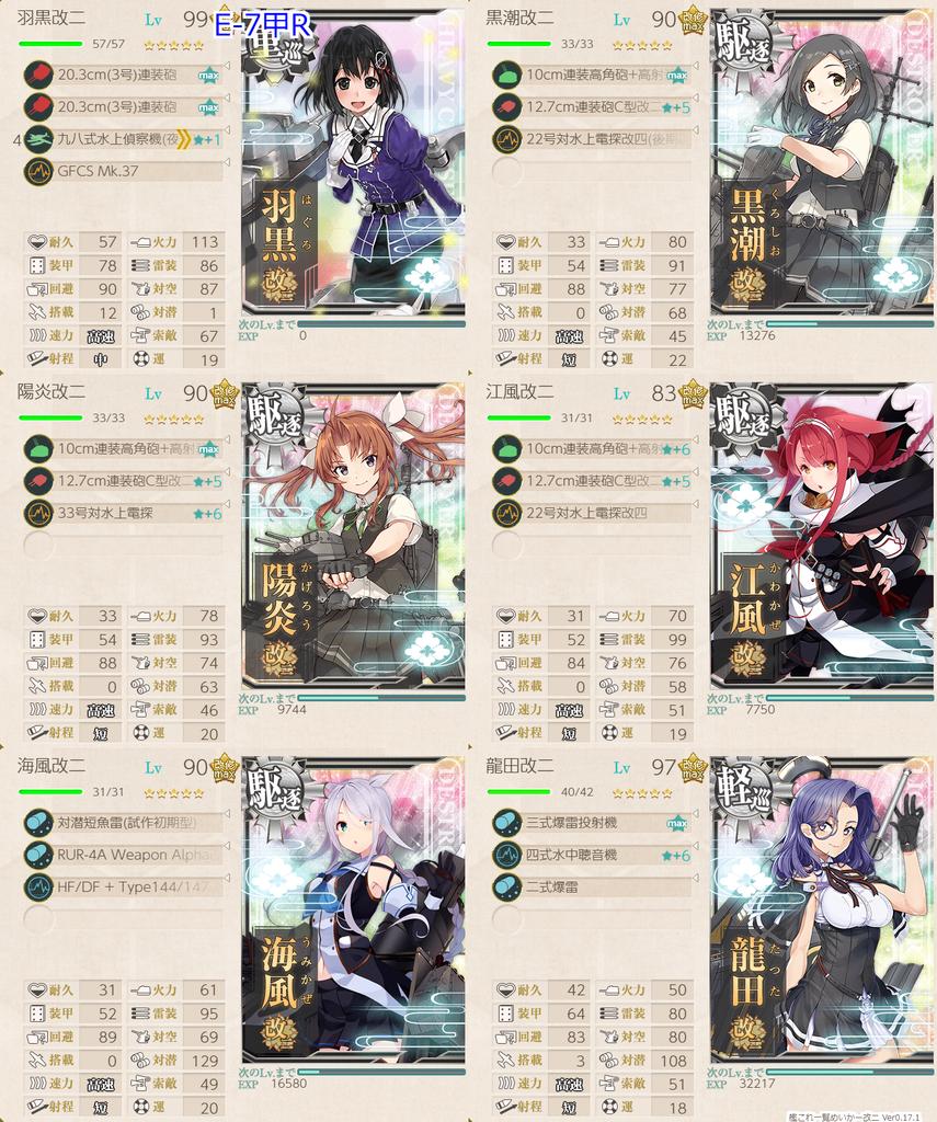 艦隊これくしょん/20梅雨夏イベ/E7-1甲/RマスS勝利/水上打撃部隊/第二艦隊編成