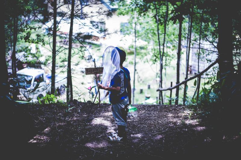 下川町の森ジャムで虫を探す少年