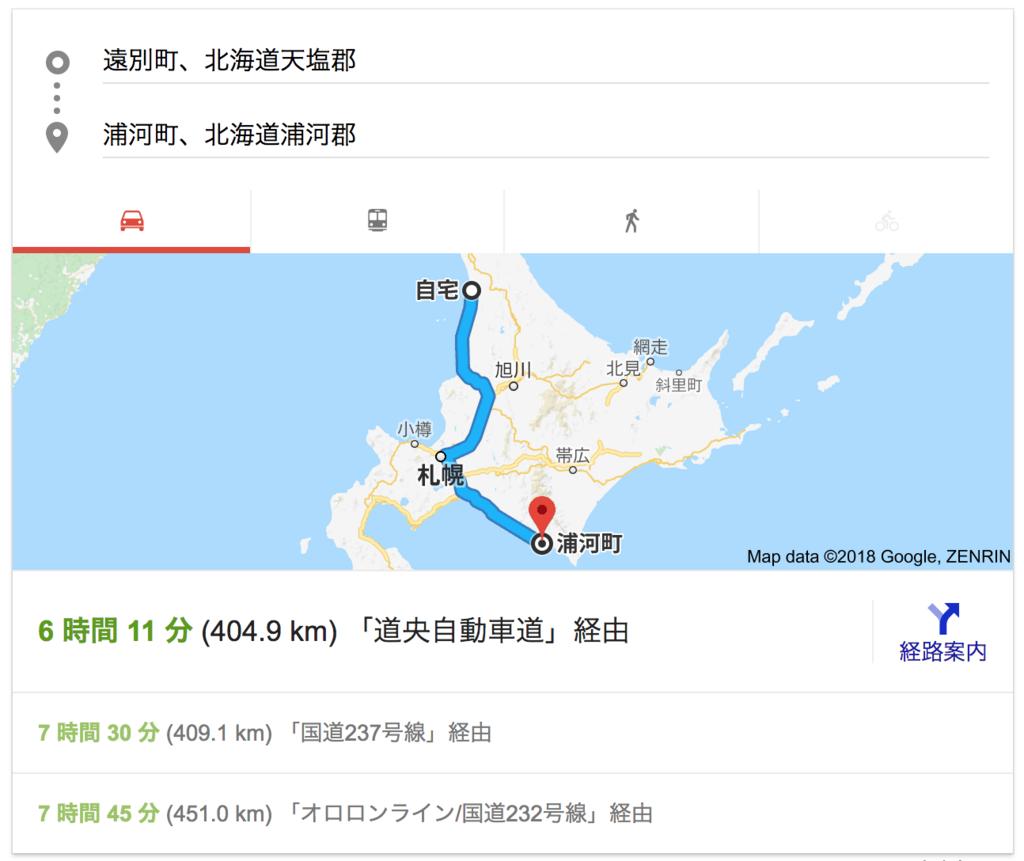 遠別町から浦河町は約400km