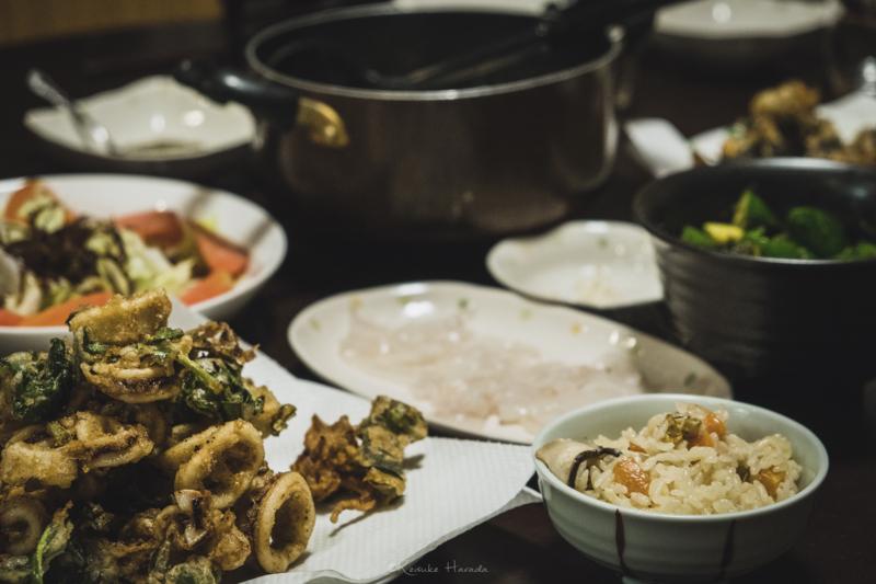 焼尻産の食材を使用した夕食