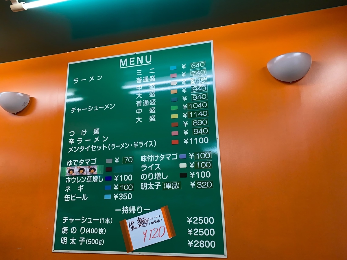 町田家新百合ヶ丘店 壁面のメニュー