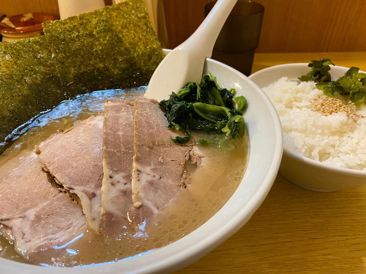 曙家 チャーシュー麺(830円)+ライス(150円)