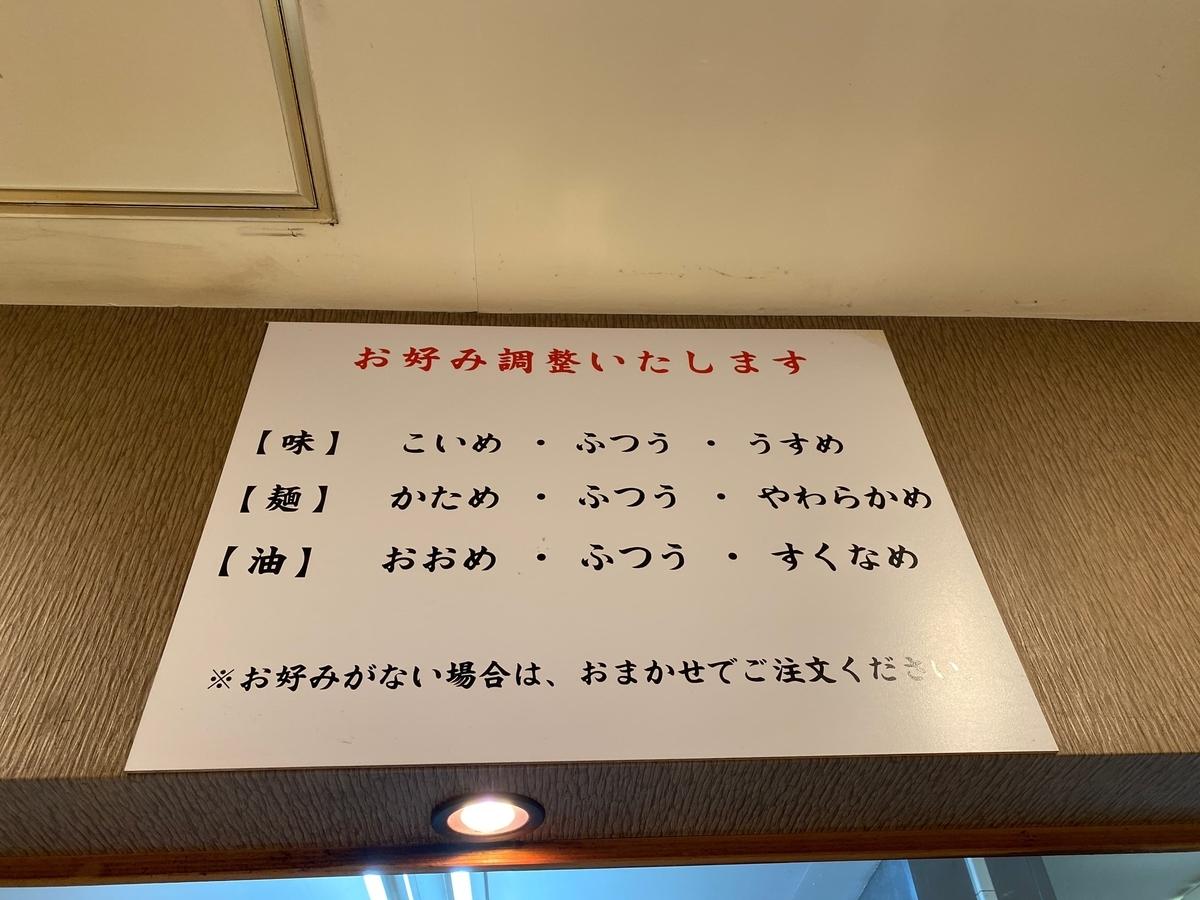 麺屋だるま家 味のお好み表