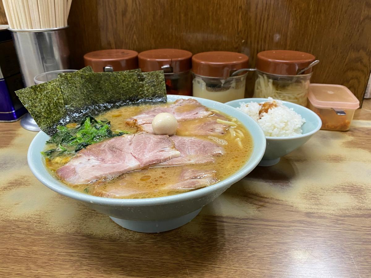 壱六家磯子本店 チャーシューメン中(1000円)+小ライス(100円)