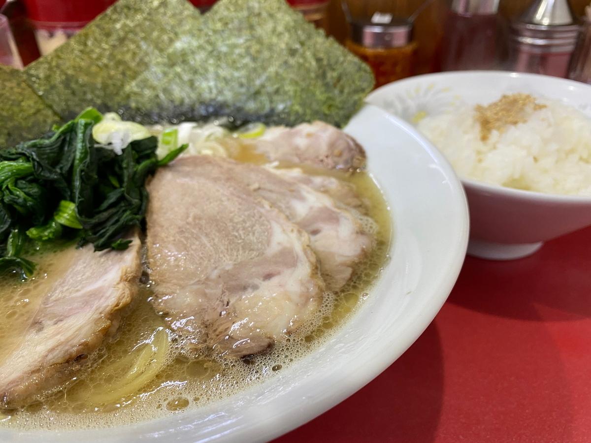 鹿島家鶴見本店 太麺チャーシューメン並(880円)+半ライス(100円)