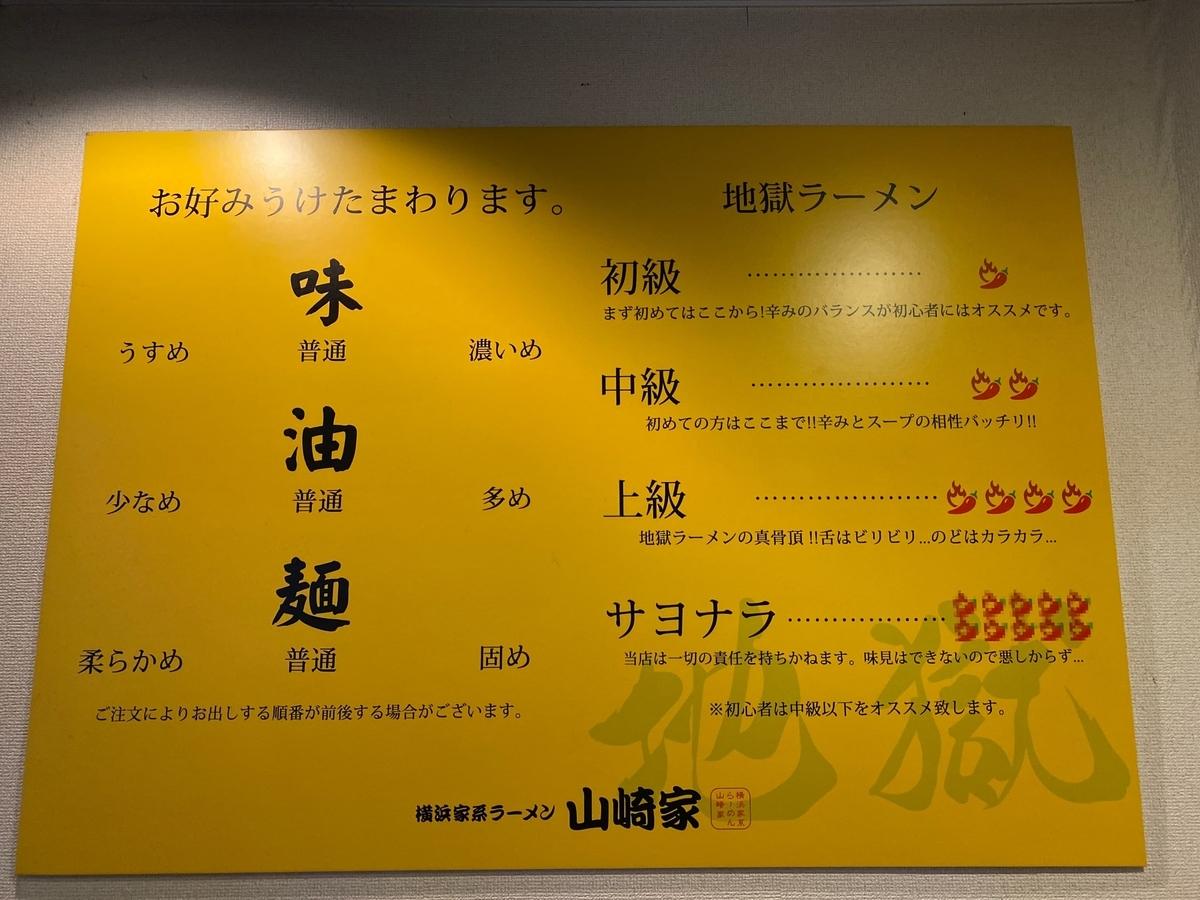 山崎家 味のお好み表